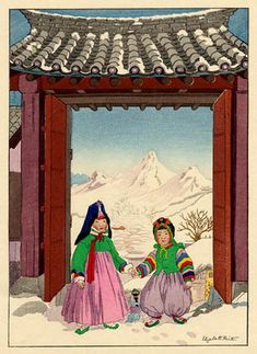 View and purchase art by Elizabeth Keith and other Japanese artists. Japanese etchings, wood block, silkscreen, stencil from famous artists. Korean Art, Asian Art, Korean Crafts, Korean Bride, Asian Sculptures, Korean Painting, Korean Traditional, Traditional Clothes, Drawing Practice