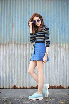 FashionCoolture - 02.08.2016 look du jour striped top scalloped skirt (7)