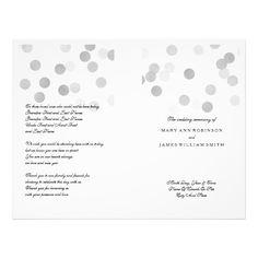 Wedding Program Faux Silver Foil Glitter Lights