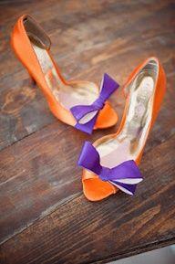 Clemson Orange and Purple Wedding shoes. I think of my orange friend. Purple Bridal Shoes, Purple Shoes, White Shoes, Purple Dress, Fall Wedding Shoes, Football Wedding, Zapatos Shoes, Orange And Purple, Burnt Orange