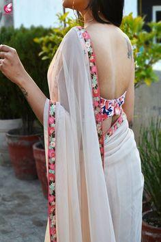 Buy Cream Net Embroidered Saree - Women Sarees Online in India Sari Design, Sari Blouse Designs, Saree Blouse Patterns, Sarees For Girls, White Saree, Red Saree, Bollywood Saree, Modern Saree, Plain Saree