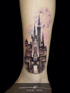 33 exquisite disney castle tattoo designs disney castle for Best tattoo artists in spokane