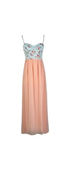 Growing Gardenias Floral Print Pink and Blue Bustier Maxi Dress  www.lilyboutique.com