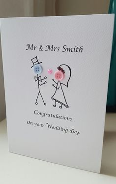 Hand Made Personalised Wedding Day Cards Button Heads £2.99