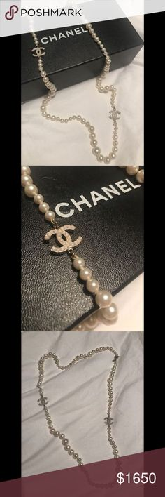 """Chanel Long Pearl Necklace Authentic Authentic Chanel Long Pearl Necklace   Great condition, worn twice and stored in box.   Measures 35"""" in length. Can be worn single or doubled. CHANEL Jewelry Necklaces"""
