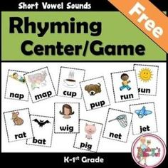 FREEBIE! Rhyming Concentration has 24 pairs of cards to match short vowel words. Use for a Concentration Game or Reading Center by ynbellomo