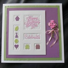 Sue Wilson Shadow Box card Sue Wilson Dies, Bday Cards, Shadow Box, Embellishments, Card Making, Boxes, Happy Birthday, Stitch, Envelopes