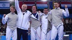 British fencers celebrate, Baku 2015 European Games Team Foil Gold
