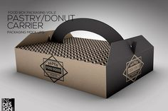 Pastry Donut Box Carrier Mock Up von INC Design auf dem Kreativmarkt delivers online tools that help you to stay in control of your personal information and protect your online privacy. Takeaway Packaging, Cake Packaging, Food Packaging Design, Food Packing Boxes, Packing Box Design, Donuts, Coffee Shop Aesthetic, Cake Logo Design, Donut Shop