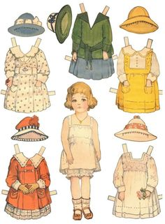 VINTAGE PAPER DOLLS 7  }{ Compilation of Alice and three other paper dolls with costumes.