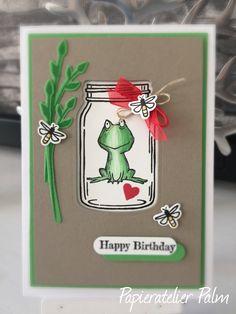 Stampin up Geburtstagskarte Glückwunsch, Lots of Love, Frosch, Glasklare Grüße, Einweckgläser für alle Fälle