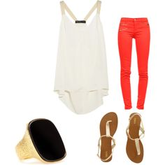 A fashion look from April 2012 featuring Elizabeth and James tops, J Brand jeans and Oasis sandals. Browse and shop related looks.