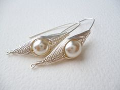 Silver Earrings Wire Wrapped Beige Pearl by SimplyWireWrapped, $16.00