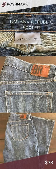 Banana Republic Men's Boot Fit Jeans W34 L30 Banana Republic Men's Boot Fit Jeans W34 x L30 Medium Dark Blue Banana Republic Jeans Bootcut