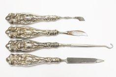 Items similar to Silver Plate Art Nouveau Manicure Set of Gorgeous Angel & Swirl Designed Handles Hollowware on Etsy Antique Vanity, Dresser Sets, Manicure Set, Gothic Home Decor, Swirl Design, Vintage Perfume, Tool Set, Hair Pins, Art Nouveau