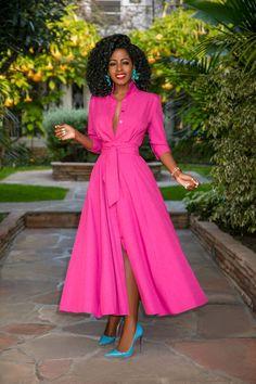 Raspberry Button-Down Shirtdress (Style Pantry) Modest Dresses, Pretty Dresses, Beautiful Dresses, Casual Dresses, Fashion Dresses, Classy Dress, Classy Outfits, Stylish Outfits, Rocker