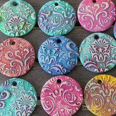 clay pendants painted damask diy necklaces sculpey oven bake hard white fimo flower flourishes (1).JPG