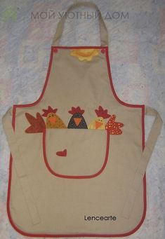 apron with chooks. good site this Easy Sewing Projects, Sewing Hacks, Sewing Crafts, Applique Patterns, Sewing Patterns, Images Noêl Vintages, Chicken Crafts, Cute Aprons, Sewing Aprons