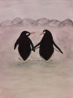 Pingvin pár. Akvarell, papír.