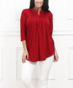 This Red Pin Tuck Notch Neck Tunic - Plus by Reborn Collection is perfect! #zulilyfinds