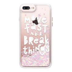 iPhone 7 Plus/7/6 Plus/6/5/5s/5c Case - Move Fast & Break Things ($45) ❤ liked on Polyvore featuring accessories, tech accessories, iphone case, iphone cases, iphone hard case, glitter iphone case, transparent smartphone and apple iphone case