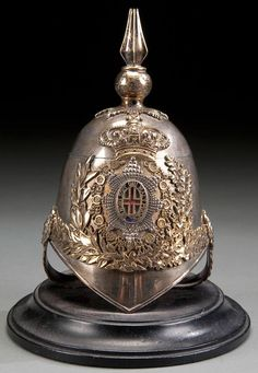 431: ENGLISH VICTORIAN SILVER CALVARY HELMET INKWELL : Lot 431