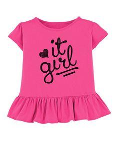 Look at this #zulilyfind! Hot Pink 'It Girl' Ruffle Tee - Toddler & Girls #zulilyfinds