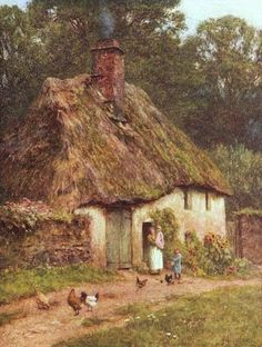 By a Devonshire Cottage ~ Helen Allingham ~ (English: 1848-1926)
