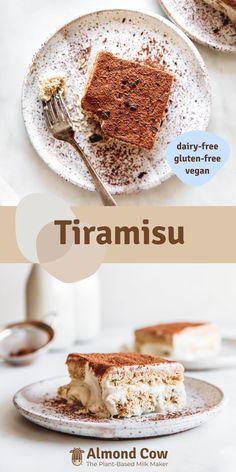 Vegetarian Desserts, Vegan Dessert Recipes, Almond Recipes, Dairy Free Recipes, Raw Food Recipes, Delicious Desserts, Yummy Food, Healthy Recipes, Vegan Tiramisu