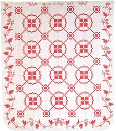 1852 vintage Burgoyne Surrounded quilt by Martha A. Page, red and white quilt with grape vine borders, posted at Civil War Talk