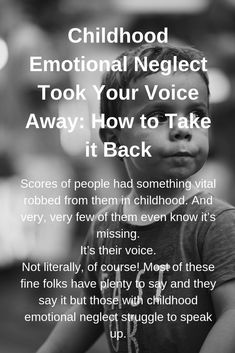 Scores of people had something vital robbed from them in childhood. And very, very few of them even know it's missing.It's their voice. Not literally, of course! Most of these fine folks have plenty to say and they say it. Abusive Parents, Nonsense Words, Stress Disorders, Anxiety Disorder, Hurt Feelings, Psychology Facts, Abnormal Psychology, Forensic Psychology, Emotional Abuse