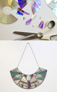 DIY ideas how to recycle old CDs Diy Jewelry Recycled, Recycled Cds, Cd Crafts, Fun Diy Crafts, Cd Diy, Plastic Bottle Art, Old Cds, Recycled Fashion, Christian Art