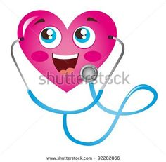 stock vector : pink heart and blue stethoscope isolated vector illustration