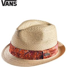 Womens Vans Beach Bound Straw Trilby Hat - Boho Orange (€36) ❤ liked on Polyvore featuring accessories, hats, chapéus, women, orange hat, straw trilby hat, straw trilby, trilby hat and straw hat