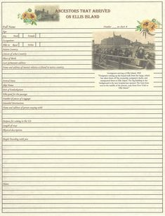 Family - Ancestors that Arrived on Ellis Island by Scrapbook Your Family Tree Collection : Family - Ancestors that Arrived on Ellis Island Part of the 2017 Family Collection - Design: Sunflowers Make A Family Tree, Family Tree Chart, Free Family Tree, Family Trees, Genealogy Forms, Genealogy Chart, Family Genealogy, Genealogy Websites, Family Reunion Games