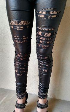3e954efcb18e8 LEATHER   LACE Ripped Black Lace Faux Leather Leggings