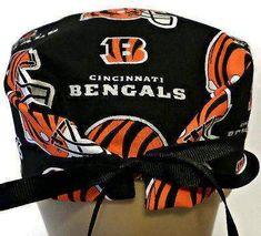 Men's Adjustable Cuffed or Un-Cuffed Surgical Scrub Hat Cap in Cincinnati Bengals