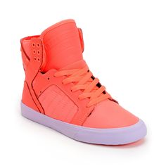 Supra Womens Skytop Neon Coral Leather & Nylon High Top Shoe  From zumiez.com
