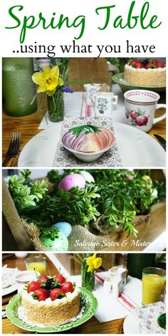 This spring table setting was made completely with items I already owned. Shopping your home can be a great way to save money and time as well as reduce the amount of items you have to store. Come see all the tables in this spring tablescape blog hop. If you are hosting an Easter brunch you will be inspired on all the fun table decor this holiday season.