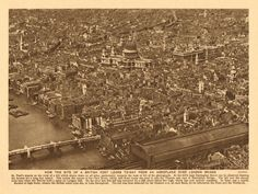 LONDON/TOWNS: How the site of a British fort looks to-day from an aeroplane over London Bridge; Vintage photographic book illustration, 1926; approximate size 18.5 x 24.5cm, 7.25 x 9.75 inches