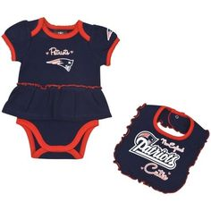 39601127c Gerber New England Patriots Infant Girls Skirted Onesie   Bib Set - Navy  Blue My Baby