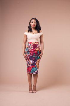 LIMITED Vlisco ROSY Skirt ~African fashion, Ankara, kitenge, African women dresses, African prints, African men's fashion, Nigerian style, Ghanaian fashion ~DKK