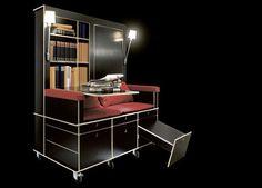 Portable Living Room: Study, Sofa & Storage on Wheels