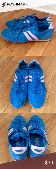 Vintage Palladium Sneakers Blue with leather trim, bubblegum pink stripes. Very cool! Palladium Shoes Sneakers