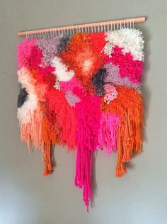 Woven wall hanging / Furry electric Strawberry Fields by jujujust