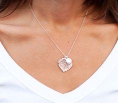 Silver Leaf Necklace Freshwater pearl OR custom by BriguysGirls