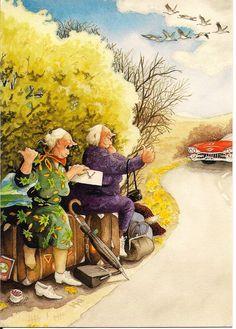 In a small village in Finland lives the world-famous artist-illustrator Inge Löök. Inge Look - pseudonym of the artist, real name Ingeborg Lievonen. Old Lady Humor, Old Folks, Look Older, Alphonse Mucha, Belle Photo, Old Women, Getting Old, Illustrators, Folk Art