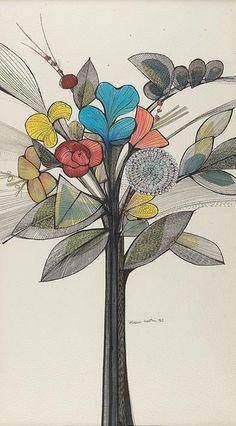 'Folhagens e flores' — Aldemir Martins