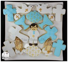 Boy First Communion Cookies by Cakes & Cookies by Clau