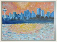 small canvas painting: Seattle skyline by Bel Fiore Artistry